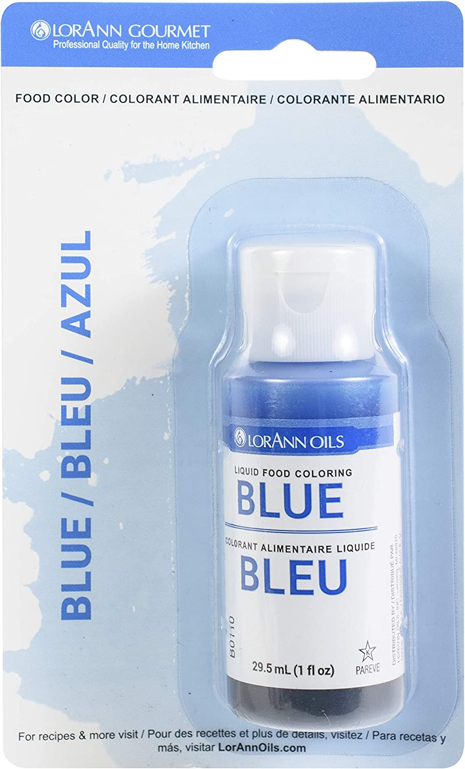 LorAnn Blue Liquid Food Color, 1 ounce squeeze bottle - Blistered - 6 Pack