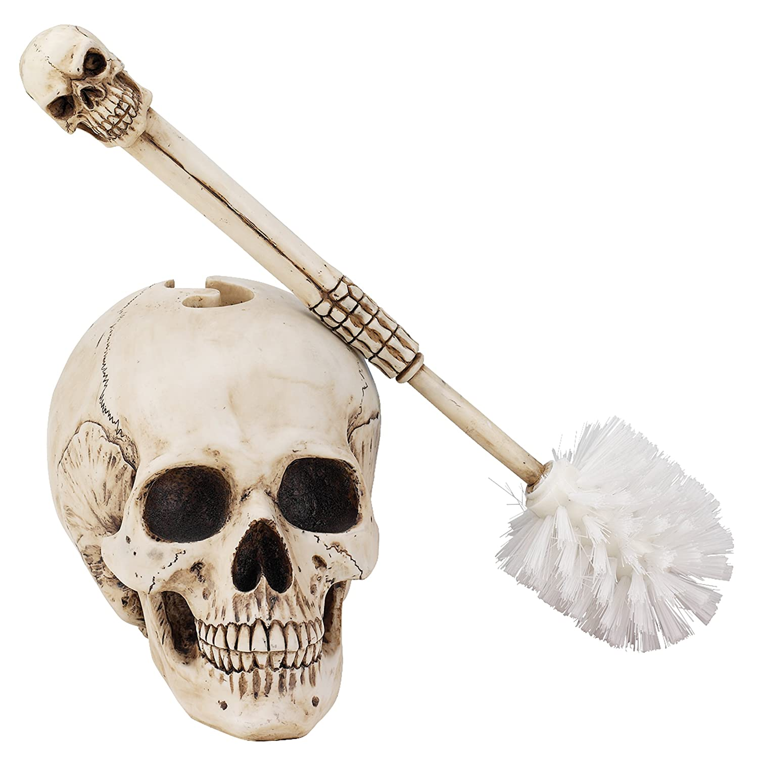 Skull skeleton toilet brush and holder bathroom accessory