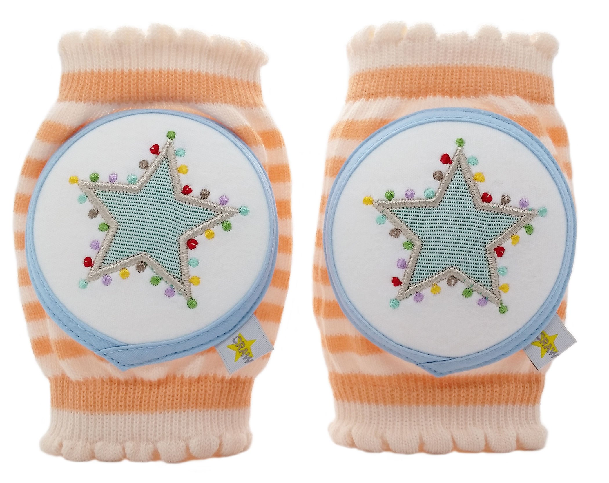 Crawlings Unisex Star Knee Pads One Size Tangerine by Crawlings