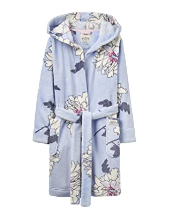 Joules Fleece Printed Dressing Gown - Sky Blue Peony - 5-6 years ...