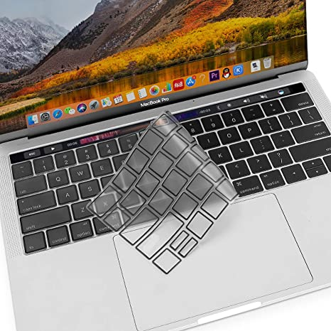 MOSISO Premium Ultra Thin TPU Keyboard Cover Compatible Newest MacBook Pro with Touch Bar 13 Inch and 15 Inch A1989 // A1706, A1990 // A1707 Black 2019 2018 2016 2017 Release Transparent Skin