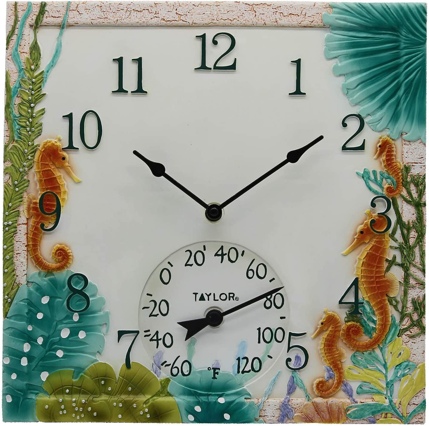 """Taylor Precision Products 92686T 14""""x14"""" Poly Resin Seahorse Clock with Thermometer, Multicolored"""