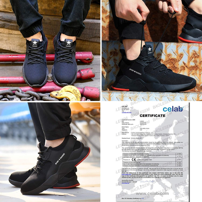 Sport Respirantes L/ég/ères Pour homme et femme Capuchon en acier Chaussures de s/écurit/é BAOLESEM S3