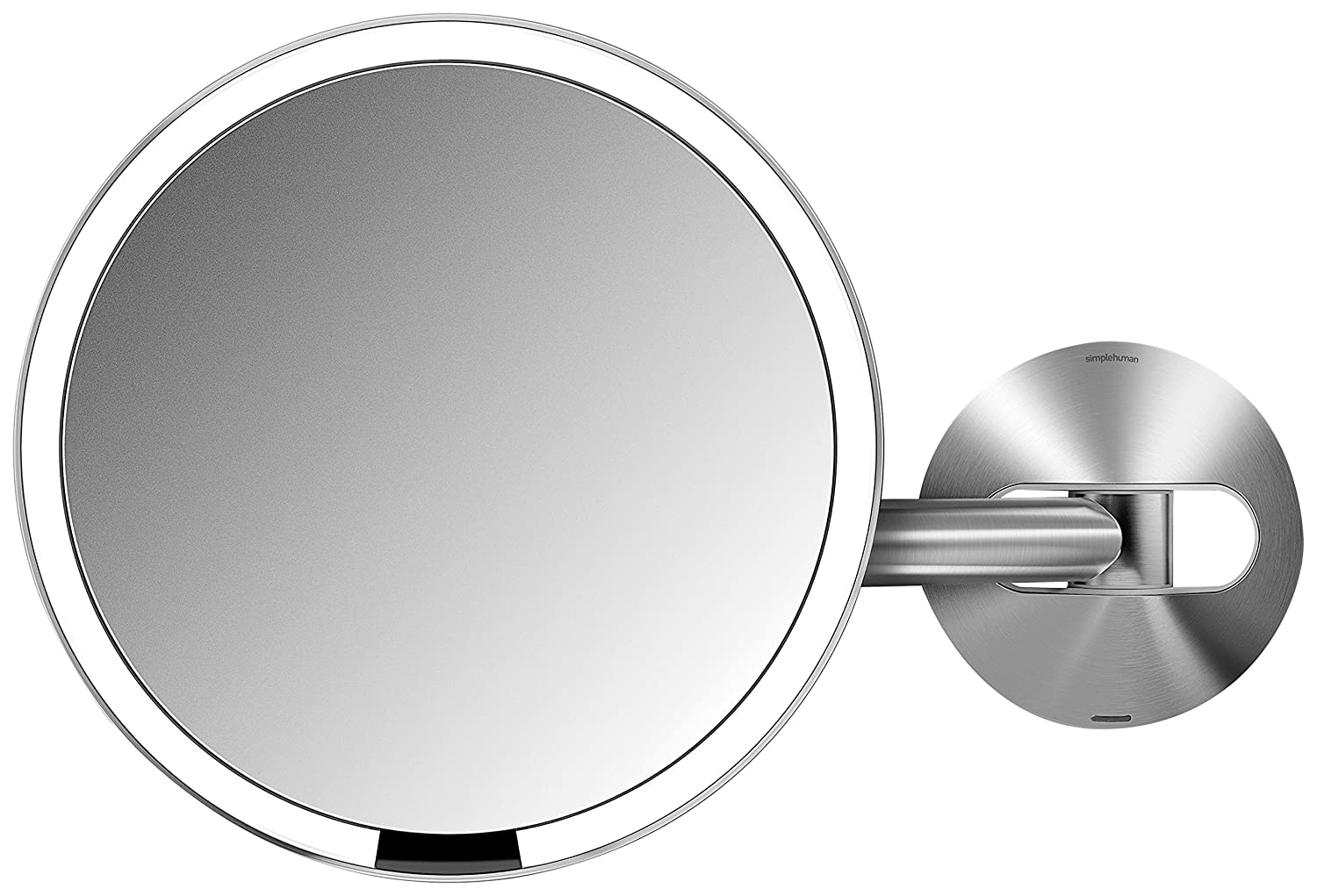 "simplehuman Sensor Lighted Makeup Vanity Mirror 8"" Round Wall Mount, 5x Magnification, Stainless Steel, Rechargeable And Cordless"
