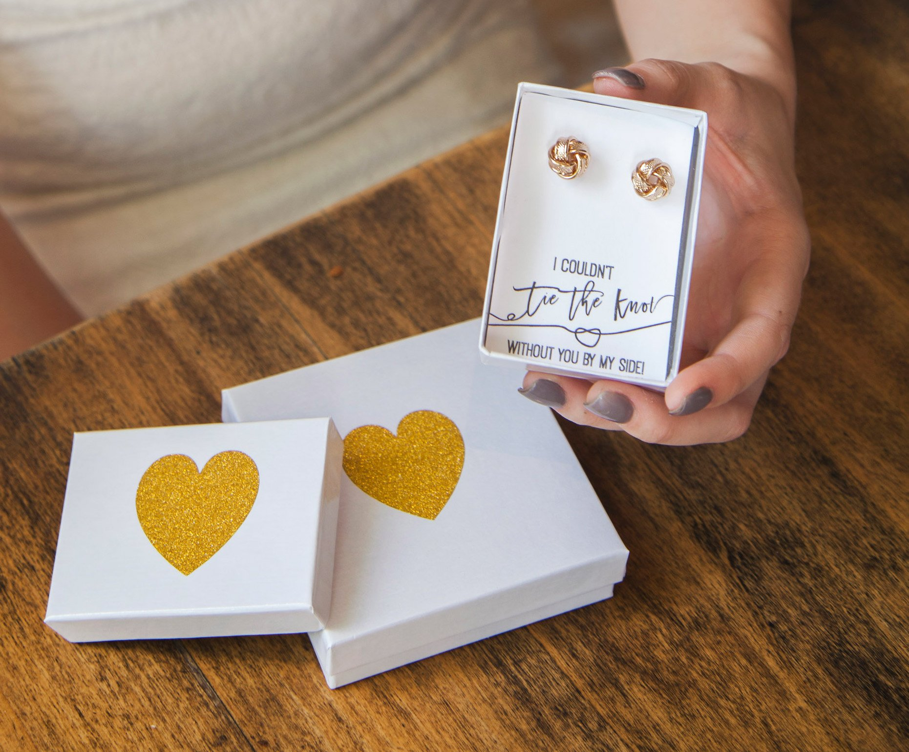 Bridesmaids Gifts - Silver Tie the Knot Earrings with Gift Box - I Can't Tie the Knot Without You Bridesmaid Proposal Earring Set of 1, 3, 4, 5, 6, 7, 8 (Black Note_ Set of 8) by Lemon Honey Jewelry (Image #6)