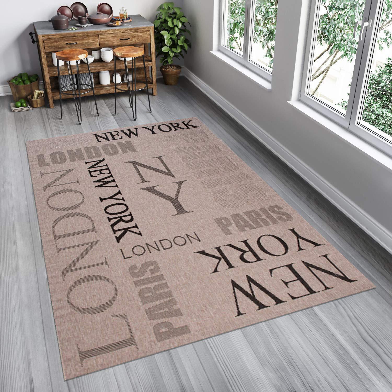 Tapiso FLOORLUX Teppich Sisal Optik Flachgewebe Strapazierfähig Creme Grau Schwarz Schrift London Muster Designer Küche Wohnzimmer 160 x 230 cm
