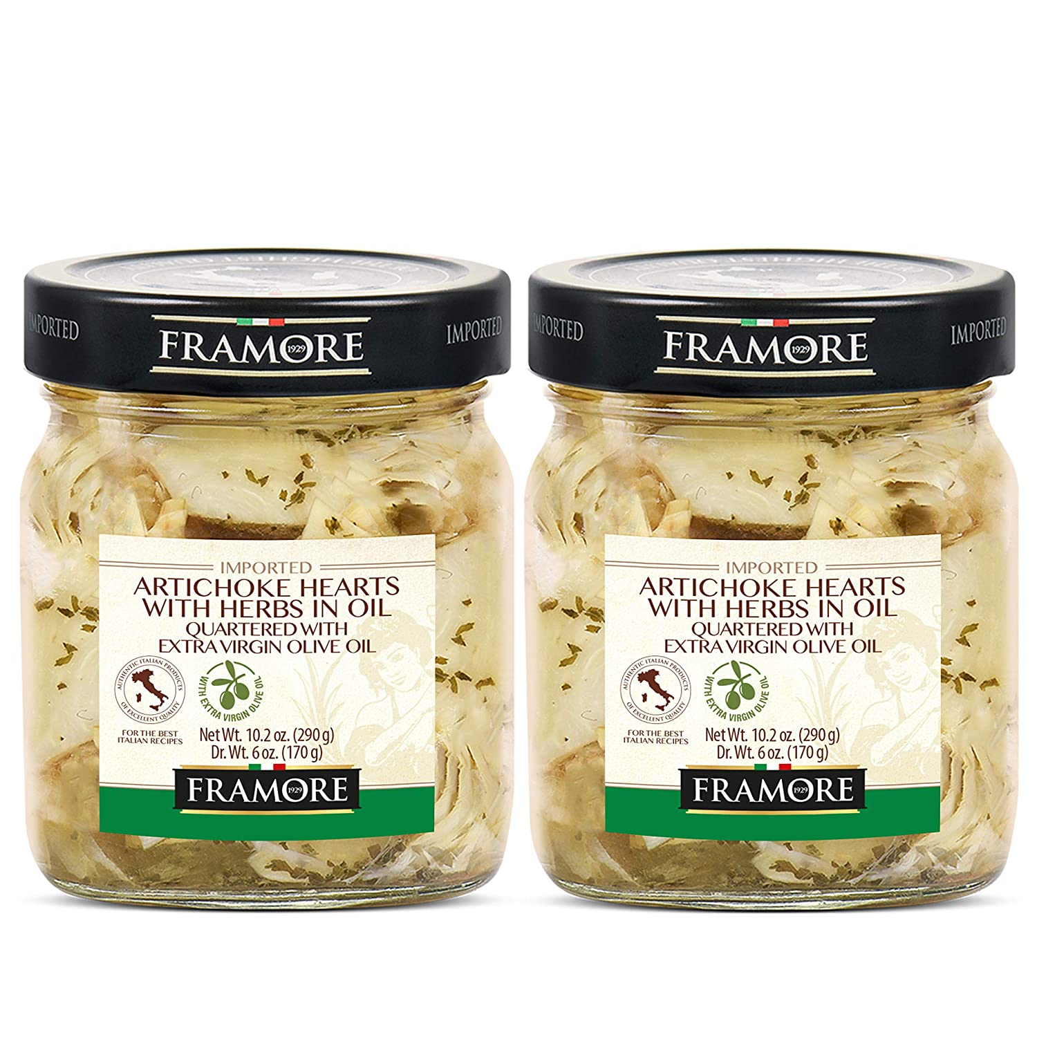 FRAMORE, Artichoke hearts quartered marinated with herbs with olive oil in jar 10.2 Ounce Two Pieces Antipasto deli foods Imported from Italy