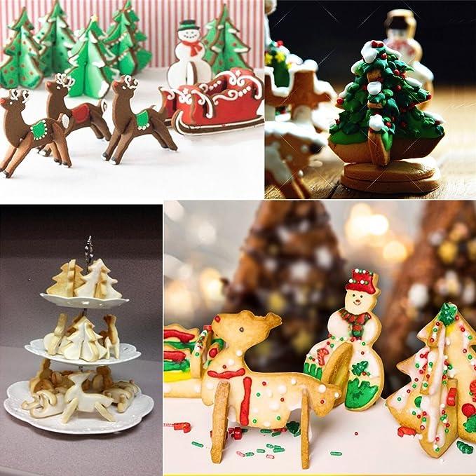 Juego de cortador de galleta de Navidad, 8 piezas de acero inoxidable 3D moldes de postre de galleta DIY para hornear de vacaciones- Árbol de Navidad, ...