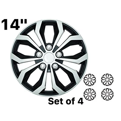 """SUMEX 14\"""" SPA Performance Wheel Cover, Hub Cap Two Tone Black/Silver Finish, (Pack of 4) … (14 Inches): Automotive [5Bkhe2006318]"""