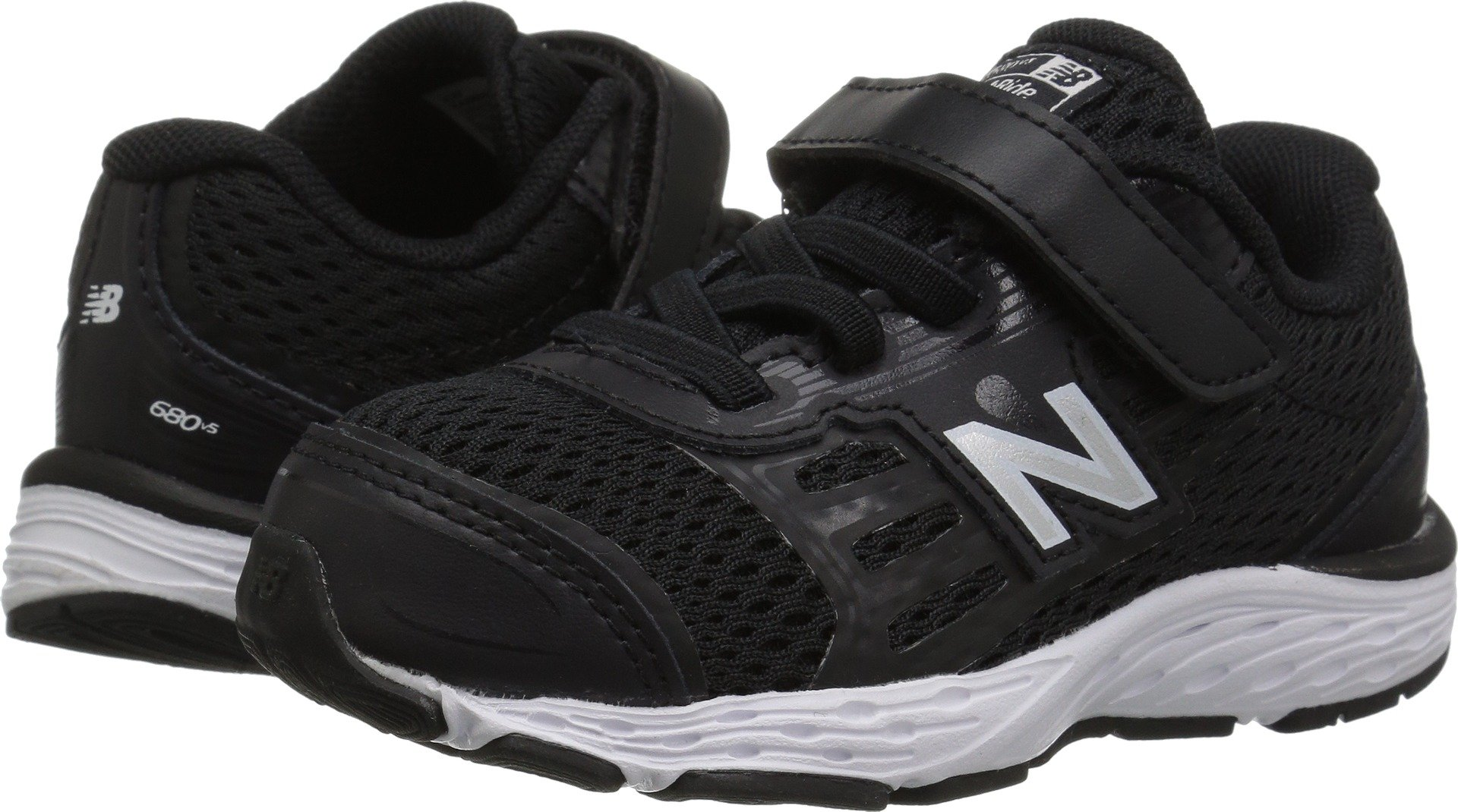 New Balance Boys' 680v5 Hook and Loop Running Shoe, Black/White, 10 M US Toddler