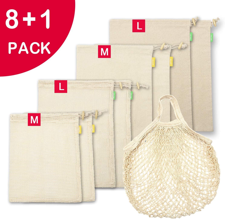 12 paquetes de bolsas de almacenamiento reutilizables de algod/ón de muselina ecol/ógicas con cord/ón para verduras fritas panes 20x25cm regalos de fiesta