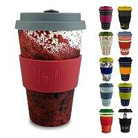 Morgenheld ☀ Dein trendiger Bambusbecher | umweltfreundlicher Coffee-to-Go-Becher | nachhaltiger Kaffeebecher mit Silikondeckel und Banderole in coolem Design 400 ml Füllmenge (Blacky - gelb)