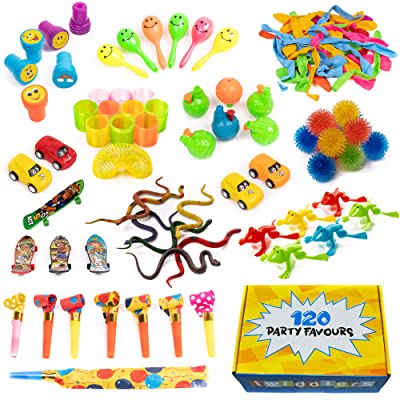 120 Juguetes de Fiestas a Granel - Surtido enorme - Perfecto para los regalos - Piñatas - Premios de Carnaval - Recompensas de la Clase - Rellenos de bolsas para fiestas y más - Cumpleaños niños.: Juguetes y juegos