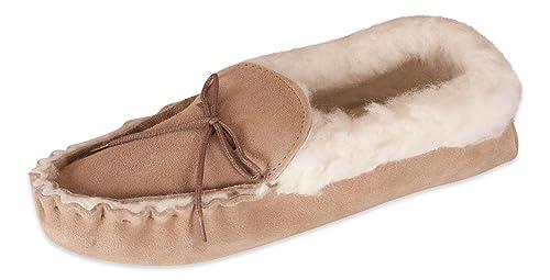 Nordvek # 418 100 Zapatillas de casa mujer Tipo mocasín Piel ovina auténtica Suela de ante y collarín de lana