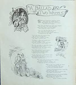 a ballad of two wheels,1897 antique print (Lydia Avery Coonley) oringial outing Magazine Print Art