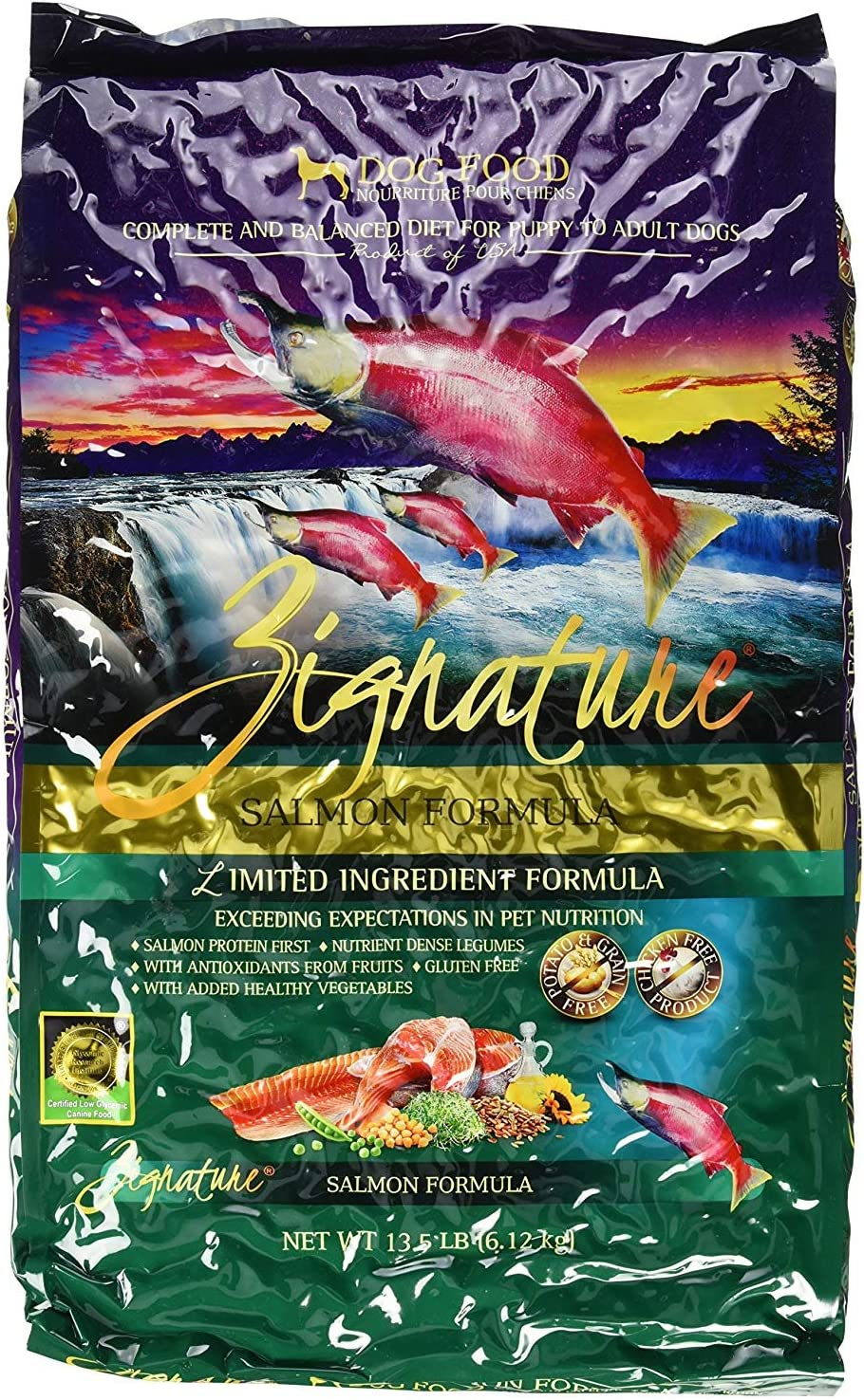 Zignature Salmon Formula Dog Food 13.5 lb. Made from Salmon in The Pacific Northwest of The USA. Fast Delivery, by Just Jak's Pet Market