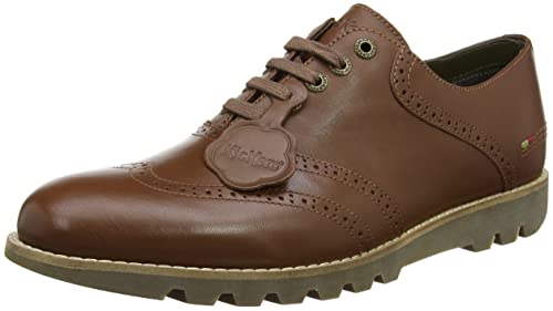 Kickers Kymbo Classic Lthr Am, Zapatos de Cordones Brogue para Hombre, Marrón (Mid Brown), 41 EU
