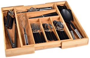 Bamboo Kitchen Drawer Organizer - Easily Adjust The Wooden Tray Width to Drawer Size, Deep Enough to Fit Entire Drawer and Accommodates Different Kitchen Utensil and Cutlery Sizes.