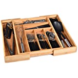 Bamboo Kitchen Drawer Organizer - Easily Adjust The Wooden Tray Width to Drawer Size, Deep Enough to Fit Entire Drawer…