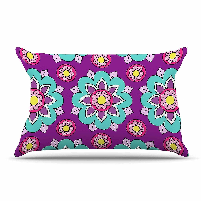 Kess InHouse Sarah Oelerich Bright Blossoms Aqua Purple King Pillow Case 36 X 20 36 by 20-Inch
