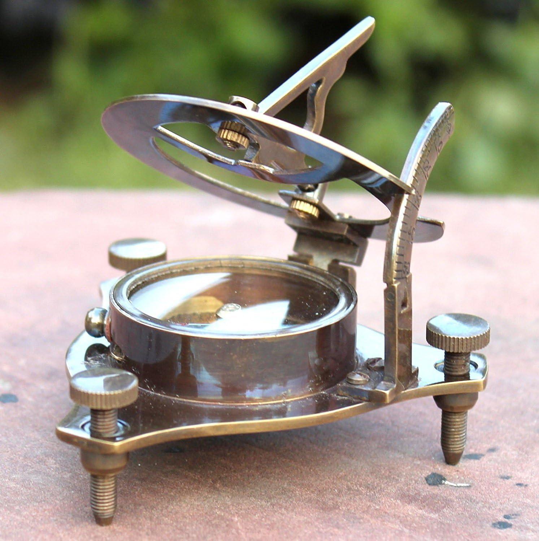 Vintage Antique Style Brass Sundial Compass Maritime Nautical Compass Desk Decor