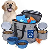 Dog Travel Bag for Supplies by Lucky Tail - Set Includes Pet Travel Bag Organizer for Accessories, 2 Collapsible Dog Bowls, 2