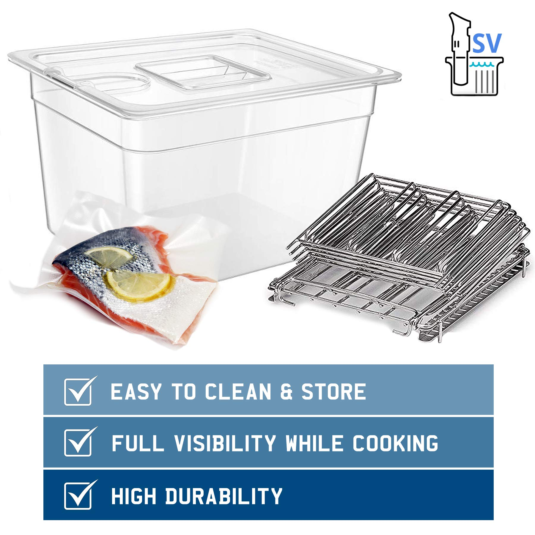 SV - Sous Vide Cooker Complete Set with Container Lid and Rack - Crystal Clear 12 Qt Container BPA Free NSF Rated - Stainless Steel Rack - Suits Anova, Nano, Joule and Most Circulators