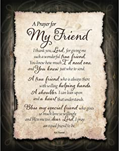 "Friend Prayer Wood Plaque with Inspiring Quotes 11.75""x15"" - Classy Vertical Frame Wall Decoration 