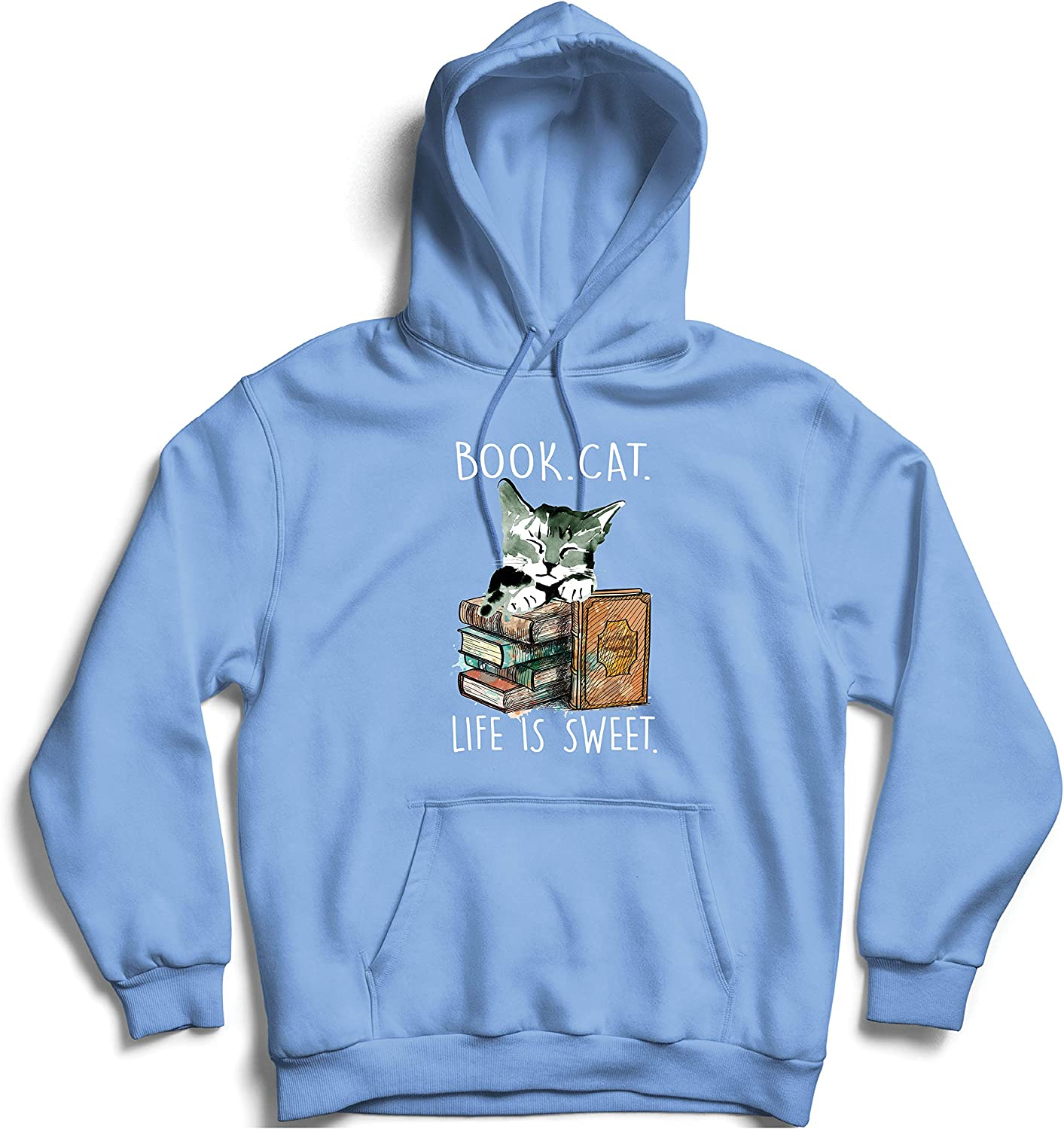 lepni.me Unisex Hoodie Book Cat Life is Sweet Kitty Lover Gift for Readers