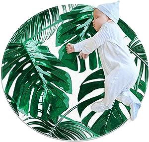 Area Rug Girls Room Childrens Rug ruggables Washable Rugs Teen Bedroom Rug,Green Tropical Leaves Pattern