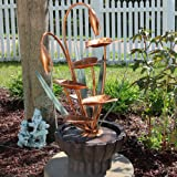 Sunnydaze Copper Flower Petals with Five Tier Leaves Outdoor Water Fountain, 34 Inch Tall, Includes Electric Pump