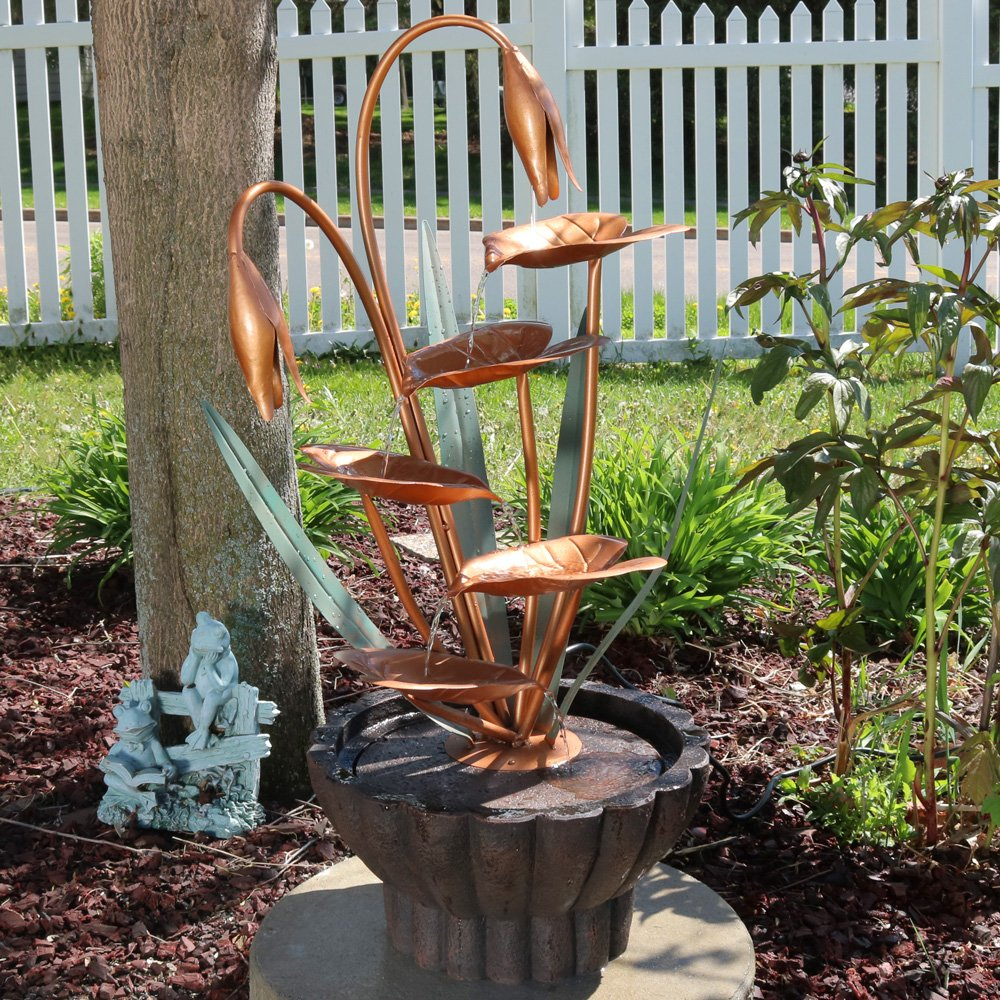 Sunnydaze Copper Flower Petals with Five Tier Leaves Outdoor Water Fountain, 34 Inch, Includes Electric Pump by Sunnydaze Decor