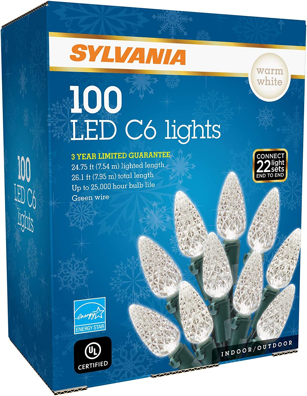 SYLVANIA LED C6 Christmas Lights, Warm White