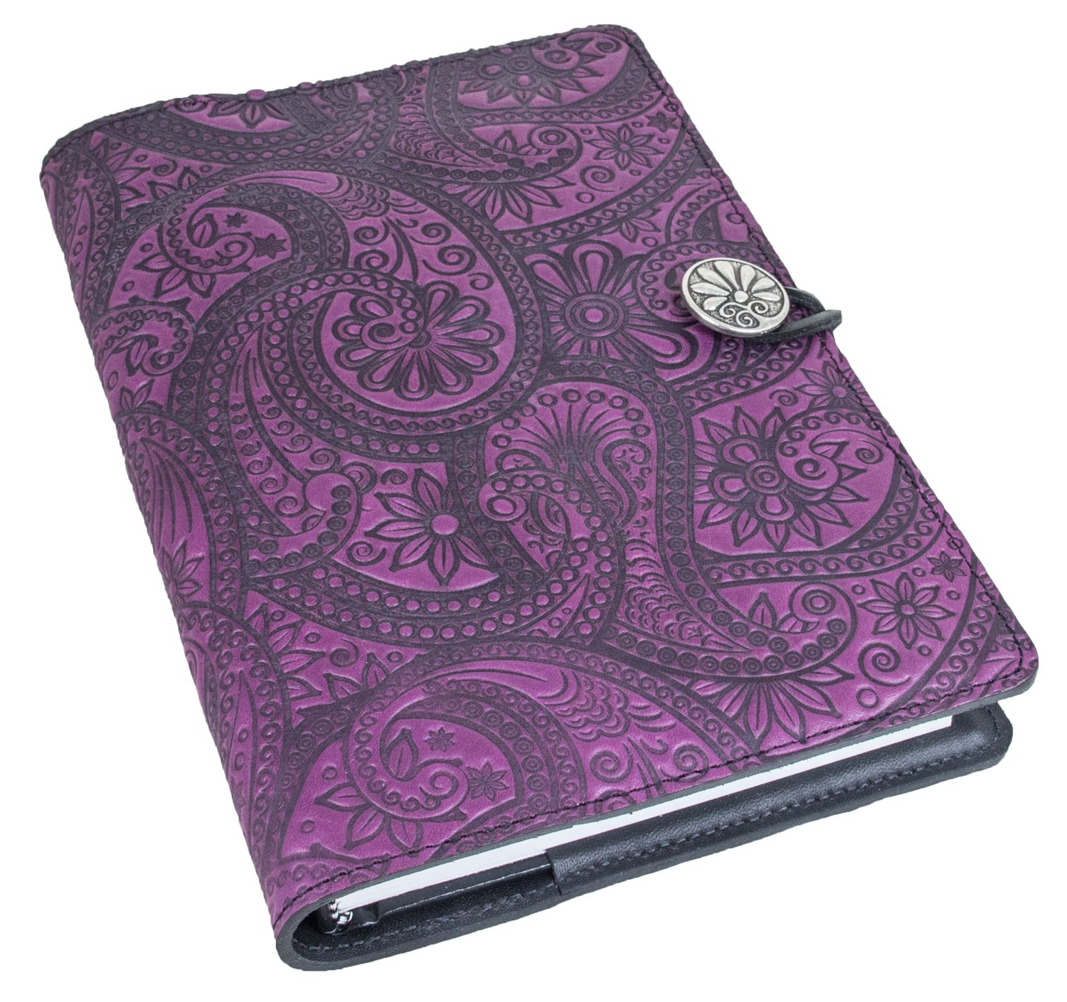 Genuine Leather Refillable Journal Cover with a Hardbound Blank Insert, 6x9 Inches, Paisley, Orchid with Pewter Button, Made in The USA by Oberon Design