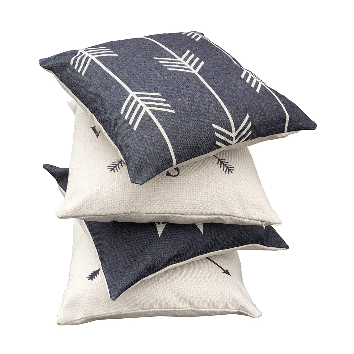 4 Pc. Set Boho Neutral Colors Patio Decor Hermosa Collection Contemporary Decorative Throw Pillow Covers and Bed Accessories Living Room Couch Sofa 18 x 18 Cotton Linen Squares Bedroom