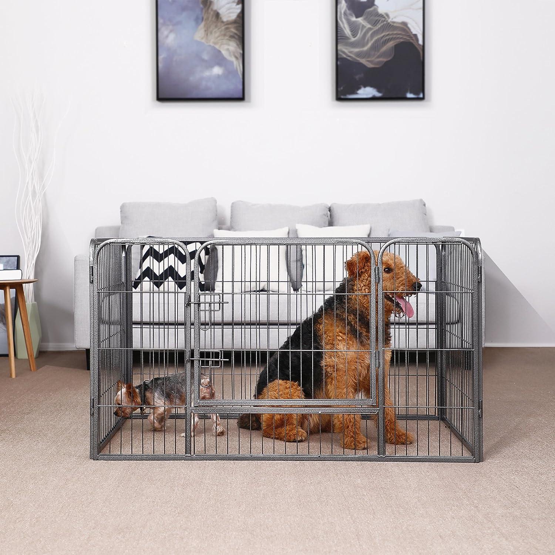 FEANDREA Jaula Valla para Perros, Corral Plegable para Cachorros, Conejos y Otras Mascotas, Gris 122 x 80 x 70 cm PPK74G: Amazon.es: Productos para mascotas