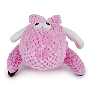 goDog Checkers Flying Pig with Chew Guard Technology Tough Plush Dog Toy, Pink, Small