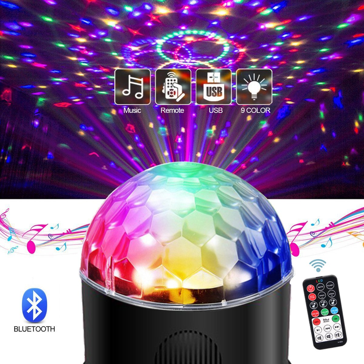 Led Sound Activated Party Lighs Disco Ball DJ Strobe Club Lamp 9 Colors Lighting with Bluetooth Speaker Usb Charging Remote Control for Christmas Home Room Dance Parties Birthday DJ Bar Wedding Show