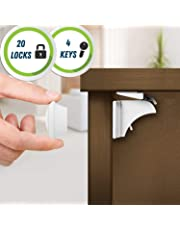 20 Locks, 4 Keys - Magnetic Safety Locks for Cupboard, cabinet and Drawers, including extra 3M adhesive strips - Child and Baby Proofing (the biggest kit on Amazon!)
