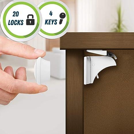 para Armario y Cajones Cerraduras Magn/éticas de Seguridad para Beb/és y Ni/ños Tiras Adhesivas 3M - F/ácil de Instalar Sin Tornillos o Perforaci/ón 4 cerraduras 1 llave