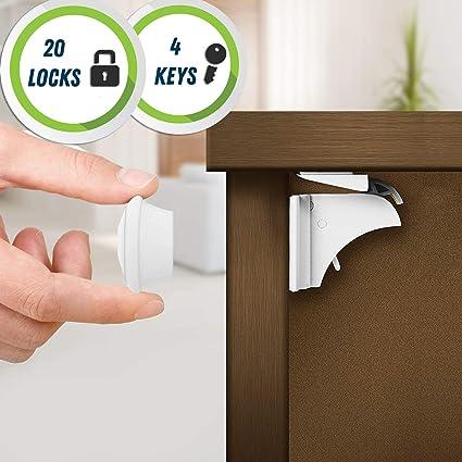 20 Cierres de Seguridad, 4 Llaves - Cerraduras Magnéticas para Gabinetes, Gavetas, Cinta