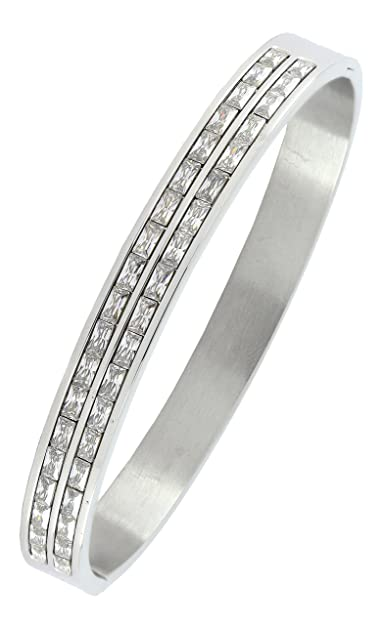 Zivom Classic American Diamond CZ Surgical Stainless Steel Openable Kada Bangle Bracelet for Men