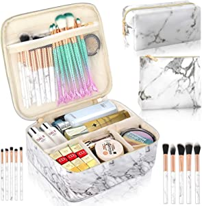 3Pcs Makeup Bags for Women, Travel Makeup Bag, Large Cosmetic Bag, Marble Makeup Bag with 10 Pcs Brushes, Makeup Case Organizer with Adjustable Dividers