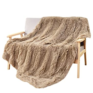 DECOSY Super Soft Faux Fur Couch Blanket Beige 50 x 60  - Reversible Puffy Fleece Flannel Shaggy TV Blanket for Sofa Chair Bed - All Season Quilt Fuzzy Comforter