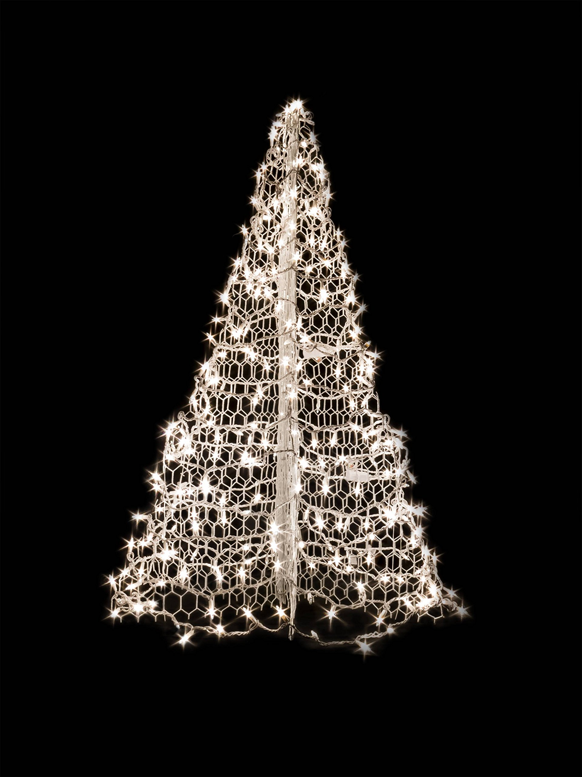 4' White Wire Crab Pot Christmas Tree with 300 Clear Incandescent Mini Lights