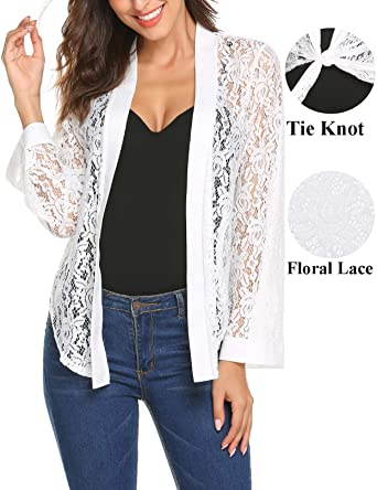 68691b790 Women s Lace Jacket for Dresses Tie Front Long Sleeve Bolero Jacket Shrug  Cardigan for Eveing Dress