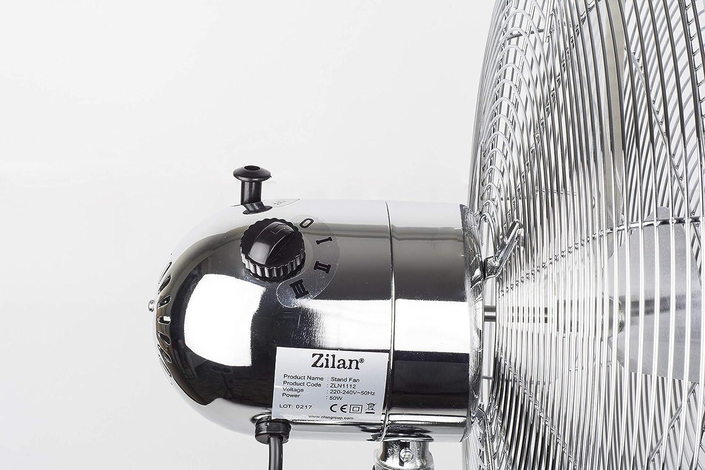 Windmaschine Leiser Betrieb Bodenventilator Klimager/ät Vollmetall Standventilator 50 Watt /Ø 40cm Fan H/öhenverstellbar Oszillierender Ventilator Turmventilator 3 Stufen