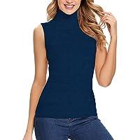 SLIMBELLE Top de Cuello Aalto para Mujer, Camiseta Delgada sin Mangas, Camisa Sólida Básica, Elegante Suéter de Cuello…