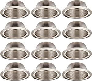TORCHSTAR 12 Pack 6 Inch Recessed Can Light Trim with Satin Nickel Metal Step Baffle, Detachable Iron Ring Included, Fit Halo and Juno Remodel Recessed Housing
