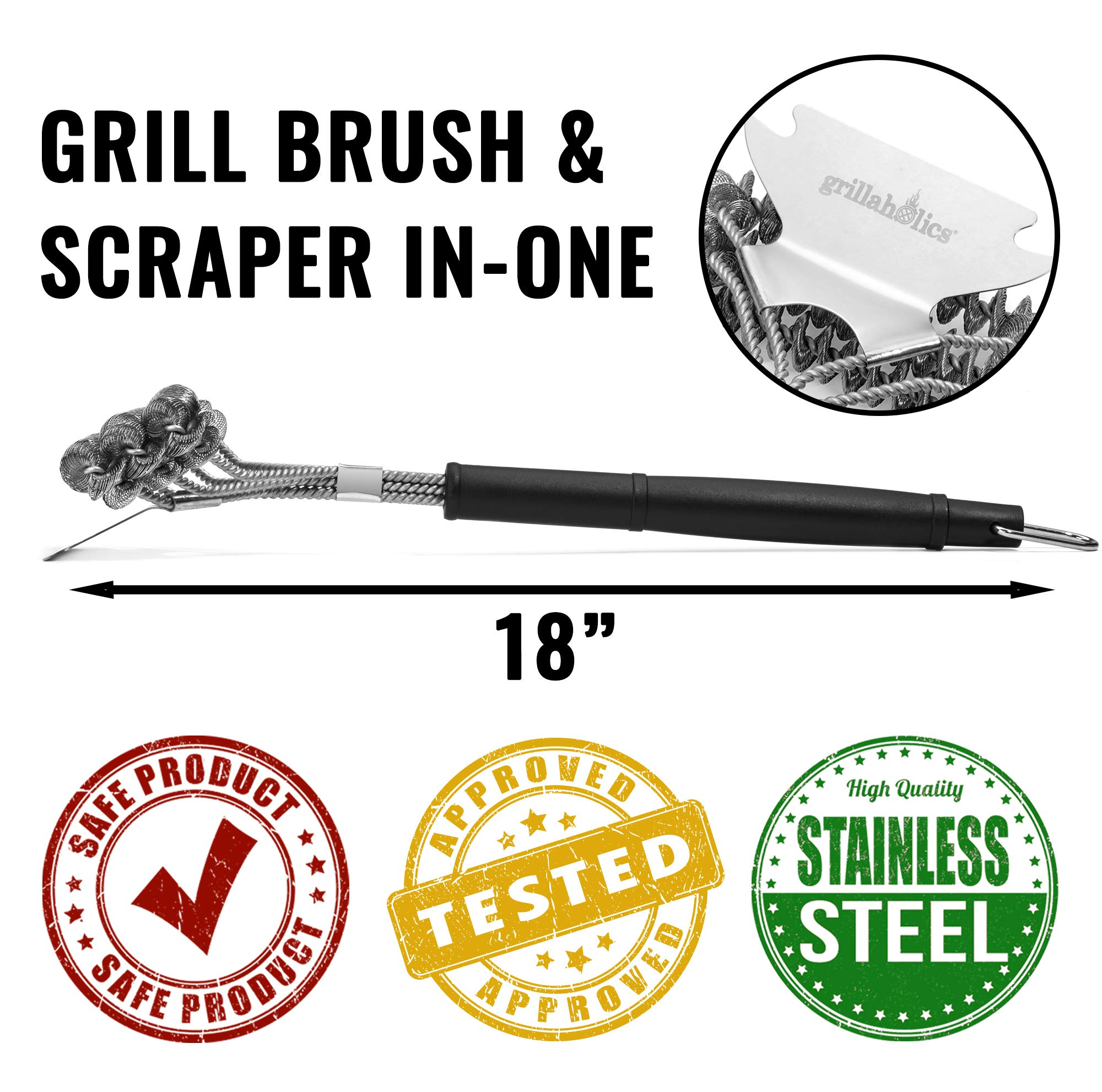 Grillaholics Grill Brush Bristle Free - Safe Grill Cleaning with No Wire Bristles - Professional Heavy Duty Stainless Steel Coils and Scraper - Lifetime Manufacturers Warranty by Grillaholics (Image #5)